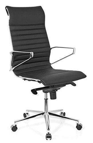 HJH Office 720022 Bürostuhl Chefsessel Pariba I Leder, schwarz