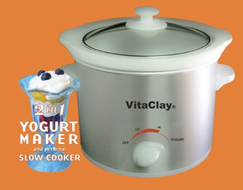 (VitaClay VS7600-2 Stoneware Yogurt Maker and Slow Cooker, 64-Ounce, Stainless Steel)