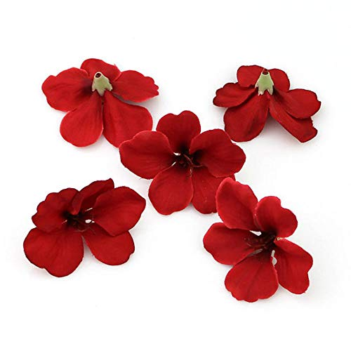YUDX121 100pcs/lot Spring Silk Orchid Artificial Flower Heads Gladiolus Cymbidium Flowers for Wedding Decoration (red)