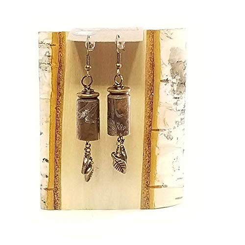 Dangling Etched Ammo Earrings - Leaves