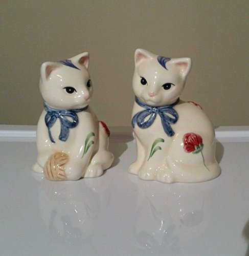 DISCONTINUED - Lenox Poppies on Blue Barnyard Collection Kitten Cat Salt and Pepper Shakers ()