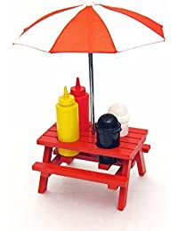 PickUp Back Yard Umbrella picnic table Shaped Mustard Ketchup Salt & Pepper shaker Condiment caddy Set 13.5 - Red by... online