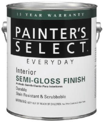 True Value JS1-GL  Painter's Select Everyday Interior Semi-Gloss Latex Enamel, 1-Gallon, White (Semi Gloss Trim)