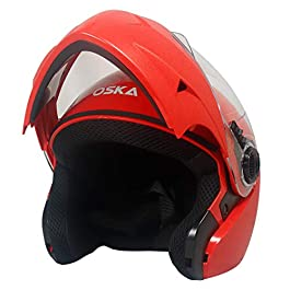 Steelbird R2K OSKA Reflective Flip-up Helmet, ISI Certified Helmet (Large 600 MM, Dashing Black with Clear Visor)