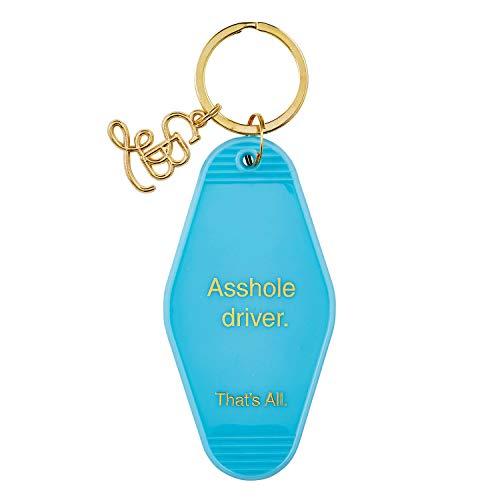 SB Design Studio That's All Vintage Style Motel Key Ring, Light Blue, Asshole Driver