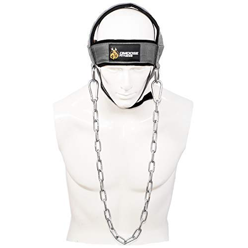 Rear Seat Brace - DMoose Fitness Neck Head Harness for Resistance Training. Extra-Heavy Rings and Steel Chain, Comfort Fit Neoprene, Superior Saddle Stitching. Build A Thicker Neck with Durable Exercise Neck Strap