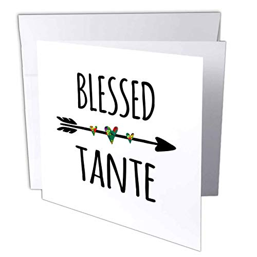 3dRose InspirationzStore - Blessed Series - Blessed Tante Tribal Arrow with Cute Hearts Aunt in German or French - 12 Greeting Cards with envelopes (gc_316596_2)