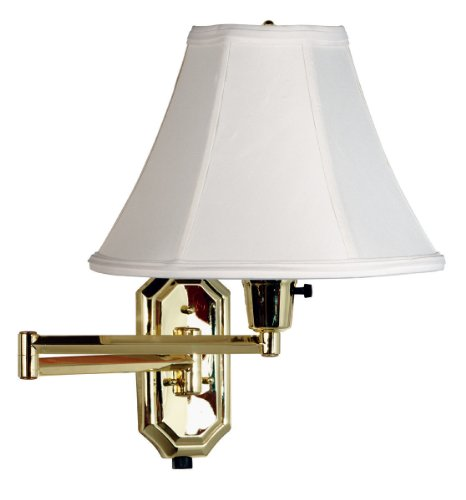 Kenroy Home 30130PB Nathaniel Wall Swing Arm Lamp, Polished Brass (Swing Wall Traditional Arm Lamp)