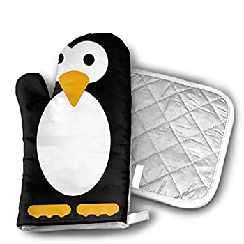 Cute Penguin Black Oven Mitts and Pot Holders Set with Polyester Cotton Non-Slip Grip Heat Resistant Oven Gloves for BBQ Cooking Baking Grilling