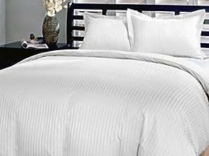 Raya blanca edredón de algodón egipcio de 800 hilos