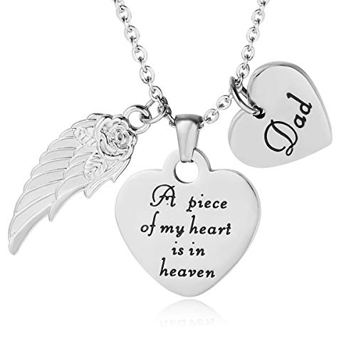 ELOI Memorial Pendant A Piece of My Heart is in Heaven Necklace Jewelry in Memory of Dad Daddy Father Memorial Gift