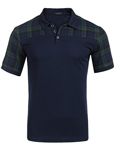 Plaid Short Sleeve Polo Shirt (COOFANDY Men's Fashion Plaid Stitching Polo Casual Short-Sleeve Polo T-Shirts)