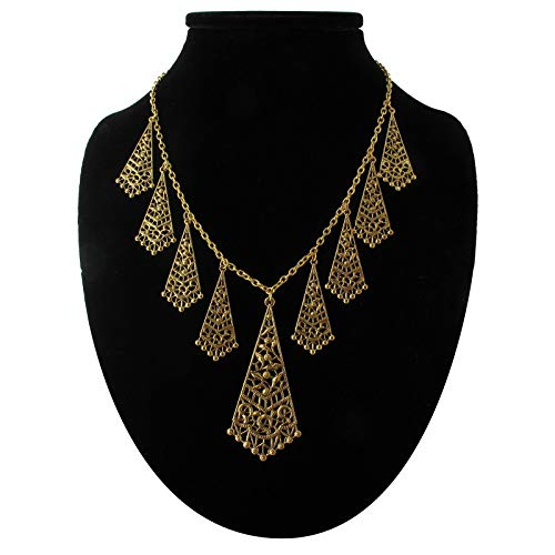 (Fringe Statement Necklace Floral Filigree Antiqued Gold Tone Necklace For Women)