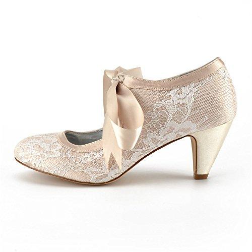 en Rubans de Femmes Mariage Dentelle Satin Bas Chaussures Zxstz Talons Champagne Rond à Bout Bq00Pv