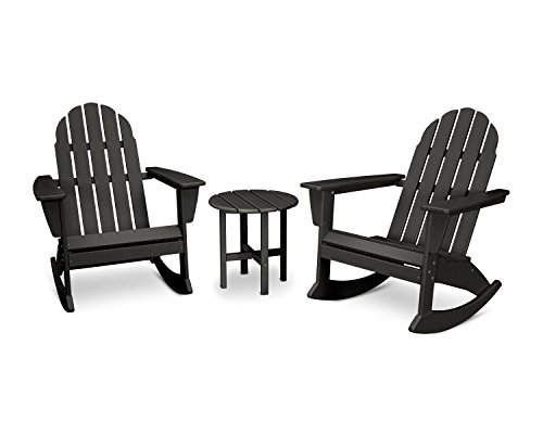 Polywood Traditional Deck - POLYWOOD Vineyard 3-Piece Adirondack Set (Black)