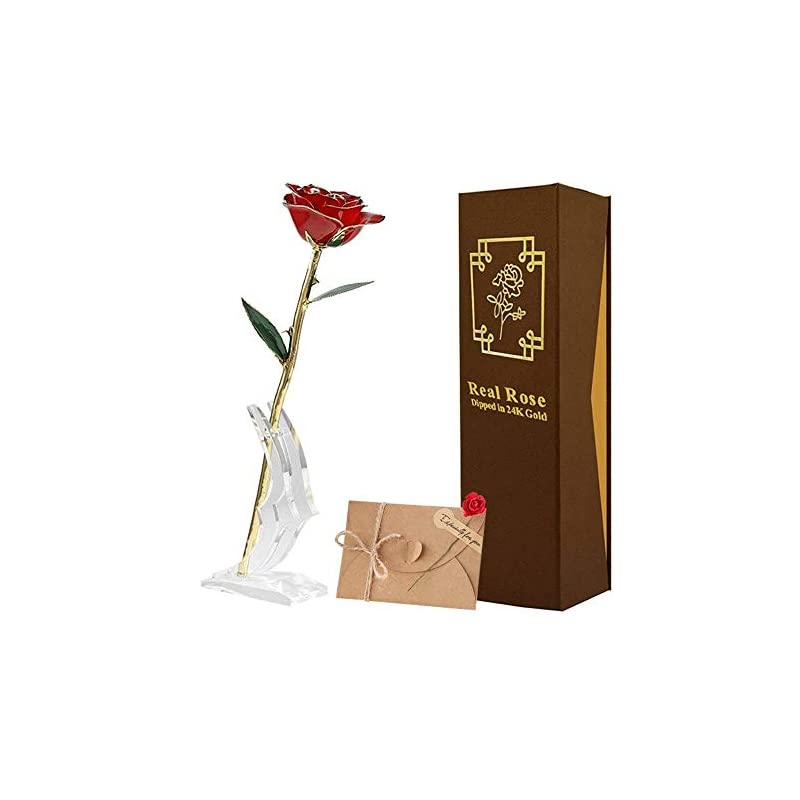 silk flower arrangements techshare 24k gold rose long stem real rose with base stand and greeting card, best gift for valentine's day, mother's day, anniversary, birthday gift red