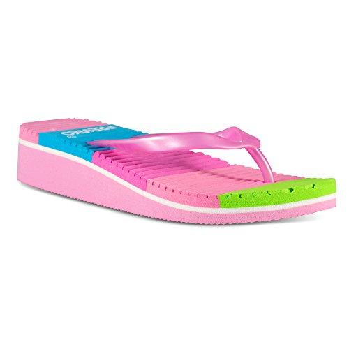 Fresko Shoes Girls Wedge Flip Flop Sandals with Rainbow Stripes