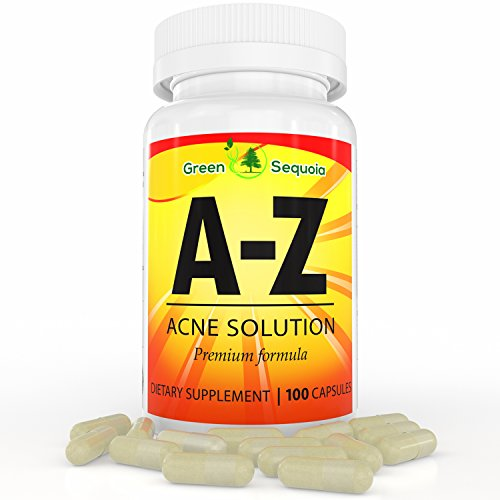 A-Z Acne Treatment Supplement for Men, Women and Teens, Hormonal and Cystic Acne Pills, Contains Zinc, Vitamin A and B5, 100 Capsules