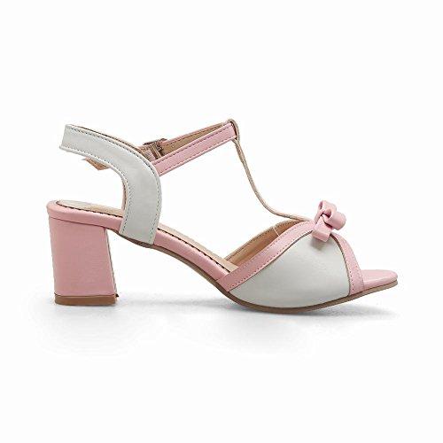 Charm Foot Mujeres Sweet Bow T-strap Sandalias De Tacón Grueso Pink