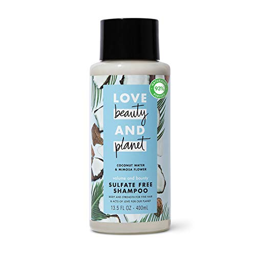 Love Beauty And Planet Volume and Bounty Sulfate-free Thickening Shampoo For Thin and Fine Hair Care Coconut Water & Mimosa Flower Silicone-free, Vegan 13.5 oz