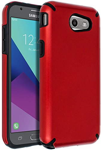 SENON Slim-fit Shockproof Anti-Scratch Anti-Fingerprint Protective Case Cover for Samsung Galaxy J3 Emerge,J3 2017,J3 Prime,J3 Mission,J3 Eclipse,J3 Luna Pro,Sol 2,Amp Prime 2,Express Prime 2,Red