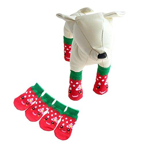 4pcs Pet Soft Cotton Anti-slip Knit Weave Warm Sock (Red) (S) - 4