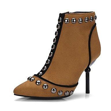 Heart&M Mujer Zapatos Aterciopelado Semicuero Otoño Invierno Botas de Moda Botas Botines Hasta el Tobillo Para Casual Fiesta y Noche Negro Marrón
