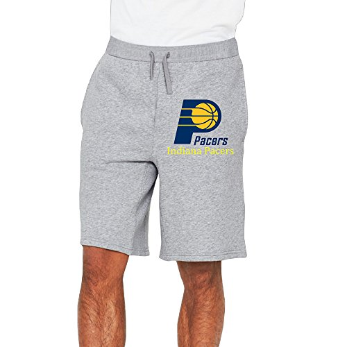 Men's Indiana Pacers Logo Cotton Short Sweatpants Ash US Size M