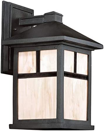 Forte Lighting 1873-01 Craftsman Mission 1 Light Outdoor Wall Sconce from the, Black