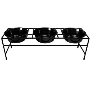 good Platinum Pets Triple Diner Feeder with Stainless Steel Heavy Dog Bowls, 16 oz, Black