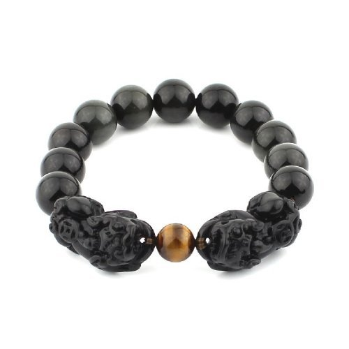 O-stone Obsidian Bracelet with a Pair of Pixius for Attracting Wealth 12mm Grounding Stone Protection