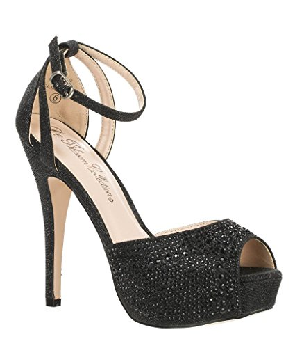 Blossom Womens Vice-126 Bridal Formal Evening Party Ankle Strap High Heel Peep Toe Glitter ()