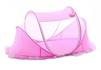 Baby mosquito cover free to install portable yurts foldable stent with cushions Carry Bag,Insect Protection Repellent, 100% Satisfaction Guarantee (Pink) Miraculous Joy