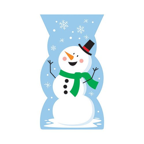 371 Decor Snowman Shaped Cello Bag44; Pack of 12-20 Per Pack (14k Snowman)
