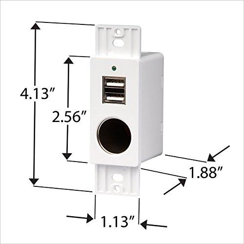 Rv Wall Mount 12v Vpa Socket 5v4a Ouput Dual Usb Port