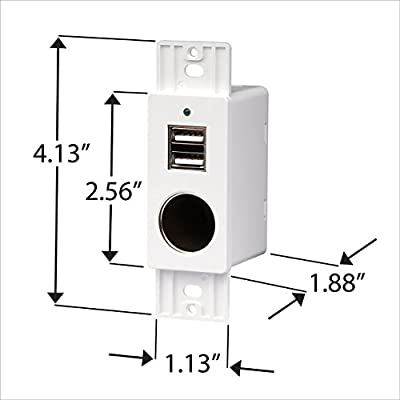 Magnadyne White Wall Mount 2 USB Charging Ports and 12V Power Outlet included with Wall Plate: Automotive