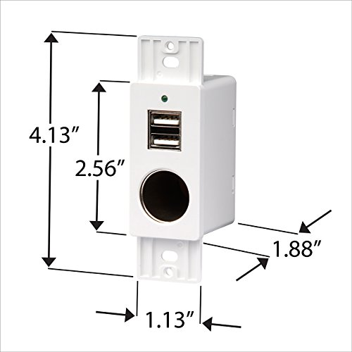 Magnadyne White Wall Mount 2 Usb Charging Ports And 12v