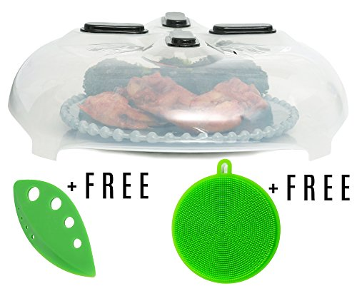 Magnetic Microwave Splatter Cover - Hover Anti-Splatter Guard Food Shield | Heat-Resistant Silicone Dome | Reusable, Non-Stick Surface | Free Kale and Herb Stripper and Silicone Dish Scrubber Sponge