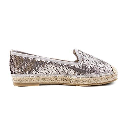 Glamour Top Espadrilles Damen Slipper Sommer Silber Low Metallic Sneaker Marimo Lederoptik vaBUqwx