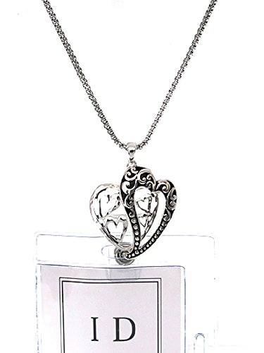 Double Heart ID Badge Holder Lanyard Silver Chain Necklace