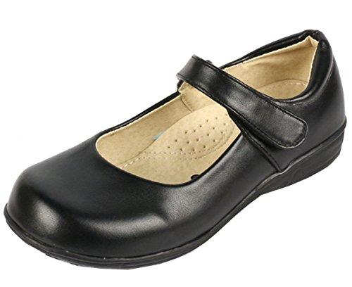 DADAWEN Girl's Strap School Uniform Dress Shoe Mary Jane Flat (Toddler/Little Kid/Big Kid) Black US Size 3 M Little Kid
