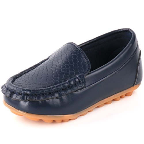 Blue Fish Boat Shoe - Femizee Casual Toddler Kid Boys Girls Loafers Shoes,Dark Blue,1301 CN 32