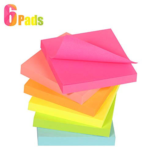 (Sticky Notes 3x3 Inches, Reliably Post Notes Stick and Re-Stick, 6 AssortedNeon Colors Recyclable Sticky Pads for Reminders, 6 Pads, 100 Sheets/Pad)