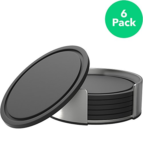 Vremi VRM050023N Silicone Coasters for Drinks - Rubber Table Cup Drink Coaster Set with Cool Stainless Steel Holder - 6 Pack - Black