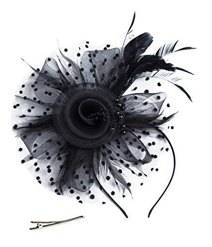 Czioe Flower Cocktail Tea Party Headwear Feather Fascinators Top Hat for Girls and Women -
