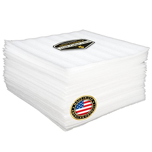 "50 Pack of Mighty Gadget (R) Cushion Foam Sheets 12' X 12', Safely Wrap Dishes, China, and Furniture, Packing Cushioning Supplies for Moving (1/8"" Thickness)"