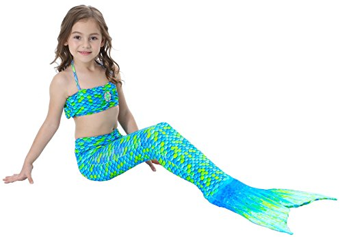 sophiashopping Girl's 3pcs Mermaid Tail Swimmable Princess Bikini Set Swimsuit
