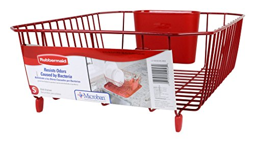 Rubbermaid Antimicrobial Dish Drainer, Small, Red 1858899
