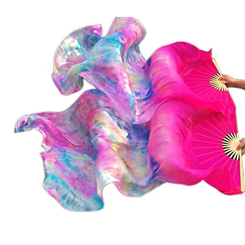 Nimiman Hand Made colorful Belly Dance Dancing Silk Bamboo Long Fans Veils Tie-Dyed 5 Colors (Rose) (Silk Fans)
