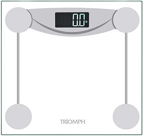 Triomph Smart Digital Body Weight Bathroom Scale with Step-On Technology, LCD Backlit Display, 400 lbs Capacity and Accurate Weight Measurements, Silver Digital Scale New